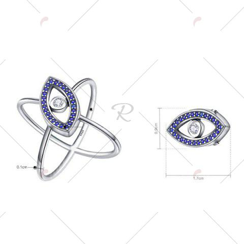 Buy Sterling Silver Rhinestone Devil Eye Ring - 8 BLUE Mobile