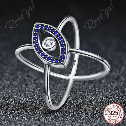 Sale Sterling Silver Rhinestone Devil Eye Ring - 8 BLUE Mobile