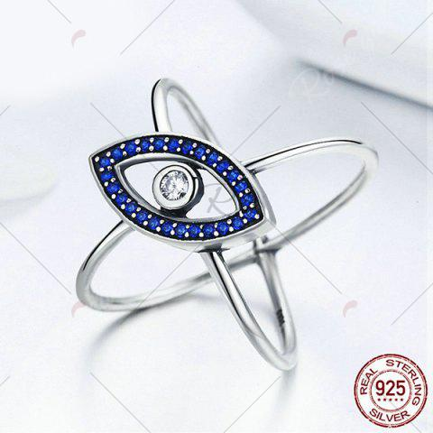 Online Sterling Silver Rhinestone Devil Eye Ring - 8 BLUE Mobile