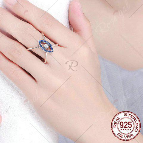 Shops Sterling Silver Rhinestone Devil Eye Ring - 8 BLUE Mobile