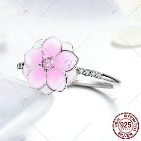 Latest Sterling Silver Rhinestone Flower Ring - 6 PINK Mobile