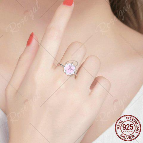 Sale Sterling Silver Rhinestone Flower Ring - 6 PINK Mobile