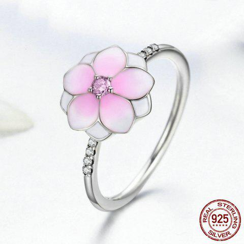 Sale Sterling Silver Rhinestone Flower Ring - 7 PINK Mobile