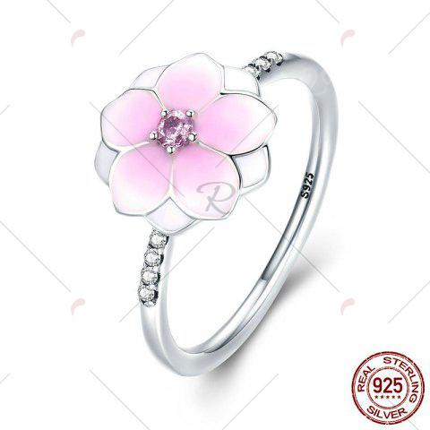 Latest Sterling Silver Rhinestone Flower Ring - 7 PINK Mobile