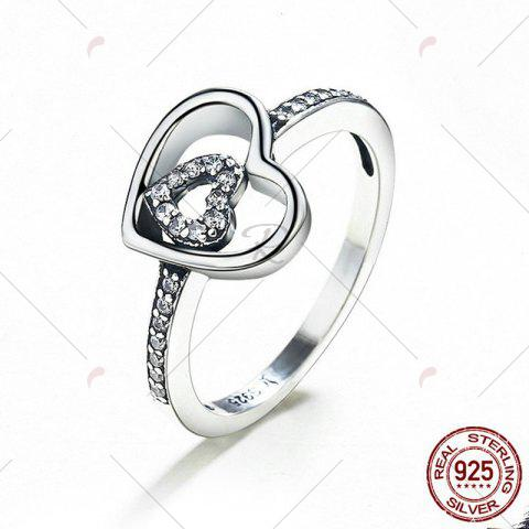 Hot Sterling Silver Rhinestone Double Heart Ring - 6 SILVER Mobile