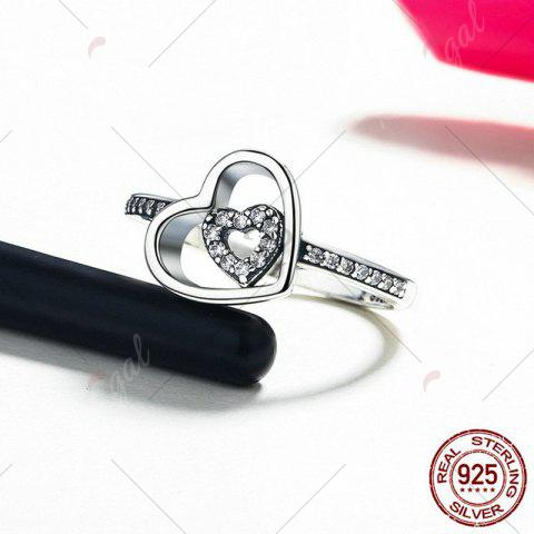 Best Sterling Silver Rhinestone Double Heart Ring - 6 SILVER Mobile