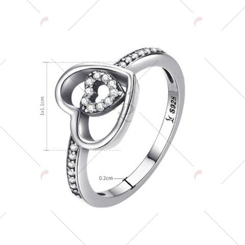 Sale Sterling Silver Rhinestone Double Heart Ring - 7 SILVER Mobile