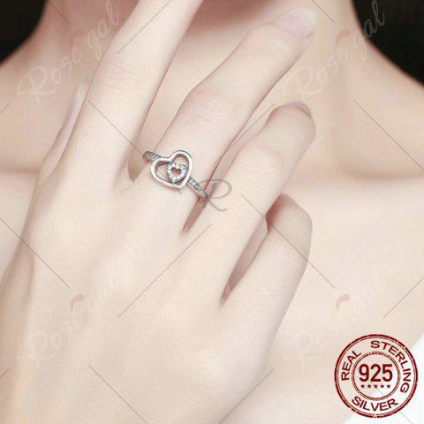 Hot Sterling Silver Rhinestone Double Heart Ring - 7 SILVER Mobile