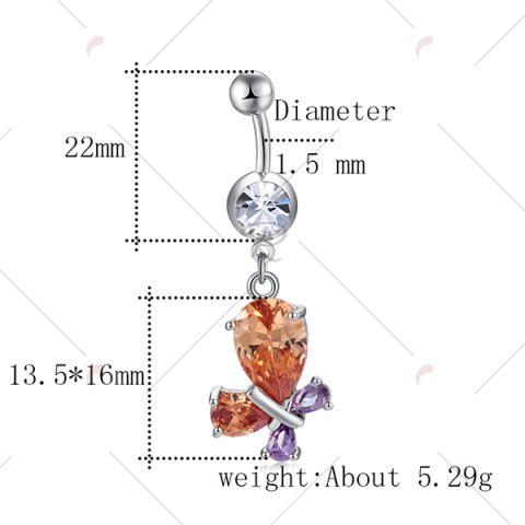 Affordable Faux Gem Inlay Tiny Butterfly Navel Button - CHAMPAGNE  Mobile