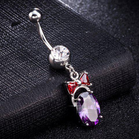 Discount Oval Faux Gem Inlaid Bowknot Belly Button Jewelry - PURPLE  Mobile