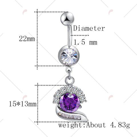 Trendy Faux Gemstone Inlay Navel Button - PURPLE  Mobile