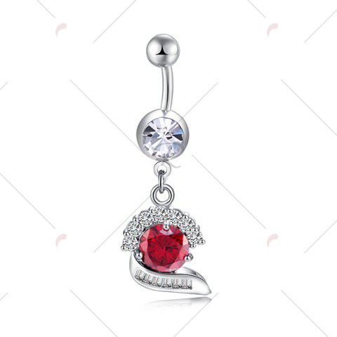 Trendy Faux Gemstone Inlay Navel Button - BRIGHT RED  Mobile