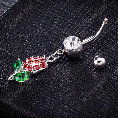 Outfit Rhinestone Tulip Shape Belly Button Jewelry - RED AND GREEN  Mobile