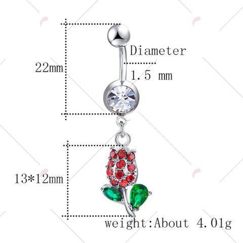 Online Rhinestone Tulip Shape Belly Button Jewelry - RED AND GREEN  Mobile