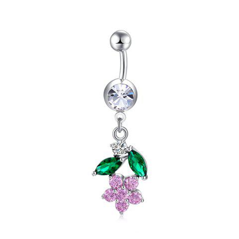 Online Flower Design Faux Diamond Belly Button Jewelry - PINK  Mobile