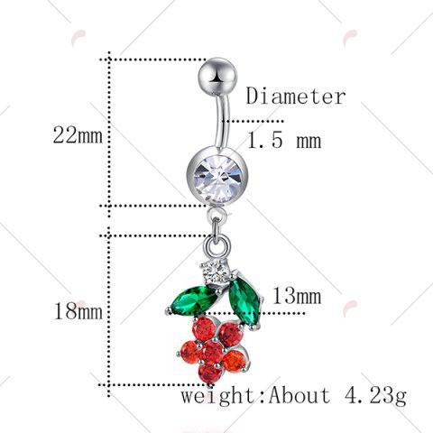 Best Flower Design Faux Diamond Belly Button Jewelry - BRIGHT RED  Mobile