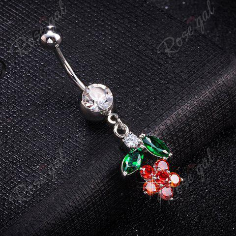 New Flower Design Faux Diamond Belly Button Jewelry - BRIGHT RED  Mobile