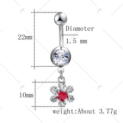 Shops Flower Faux Ruby Inlay Belly Button Jewelry - RED  Mobile