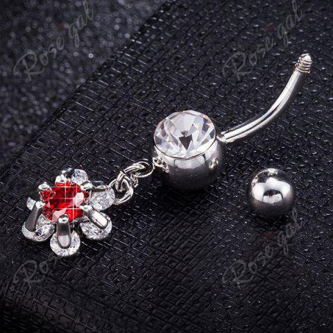 Best Flower Faux Ruby Inlay Belly Button Jewelry - RED  Mobile
