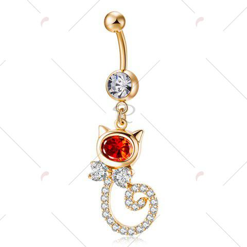 Discount Rhinestone Inlay Cat Shape Navel Button - RED  Mobile
