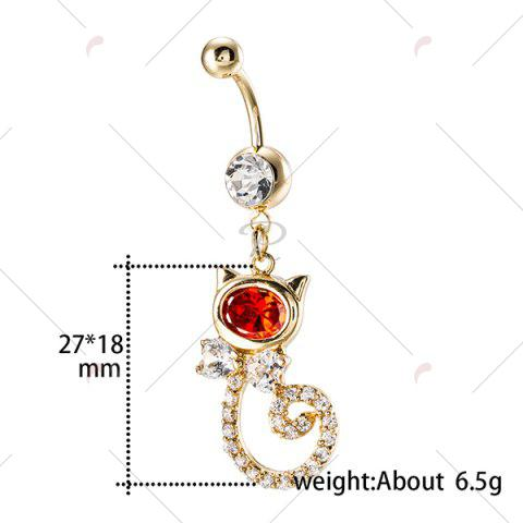 Buy Rhinestone Inlay Cat Shape Navel Button - RED  Mobile