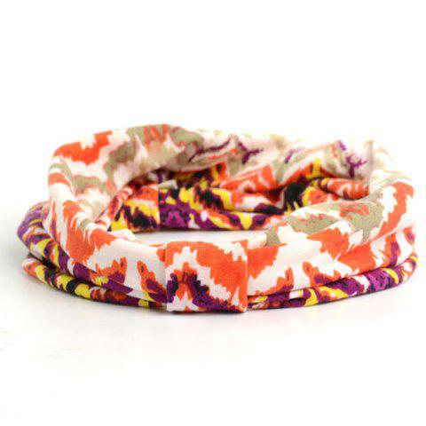 Cheap Showy Multicolor Pattern Snood Headband - BRIGHT ORANGE  Mobile