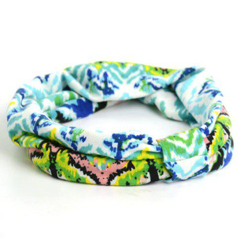 Sale Showy Multicolor Pattern Snood Headband GREEN