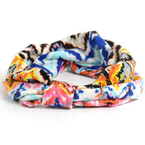 Chic Showy Multicolor Pattern Snood Headband - BLUE  Mobile