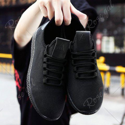 Store Mesh Lace Up Breathable Casual Shoes - 43 BLACK Mobile