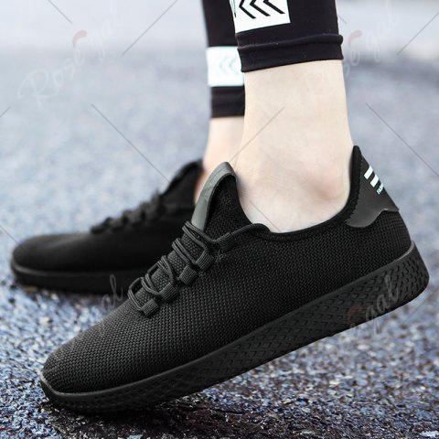 New Mesh Lace Up Breathable Casual Shoes - 43 BLACK Mobile