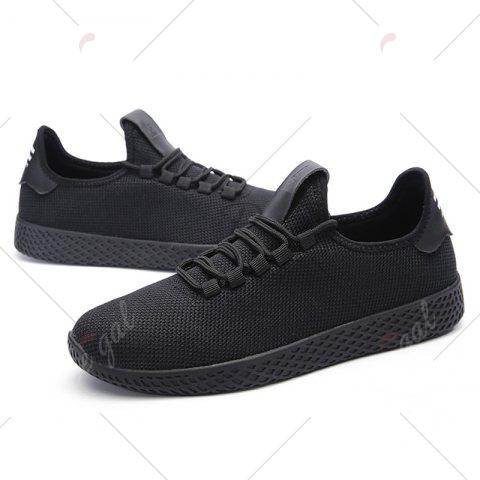 Cheap Mesh Lace Up Breathable Casual Shoes - 43 BLACK Mobile