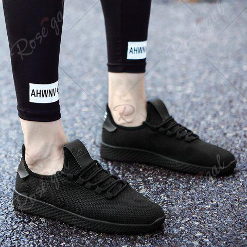 Discount Mesh Lace Up Breathable Casual Shoes - 43 BLACK Mobile