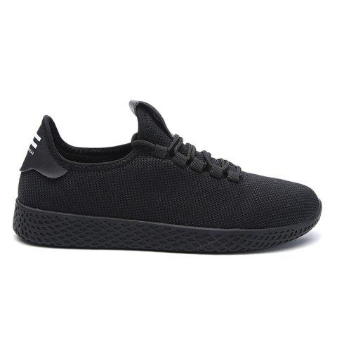 Mesh Lace Up Breathable Casual Shoes - Black - 40