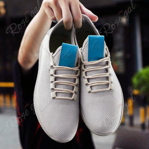 Chic Mesh Lace Up Breathable Casual Shoes - 43 OFF-WHITE Mobile