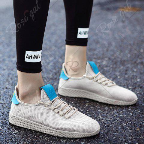 Fashion Mesh Lace Up Breathable Casual Shoes - 43 OFF-WHITE Mobile