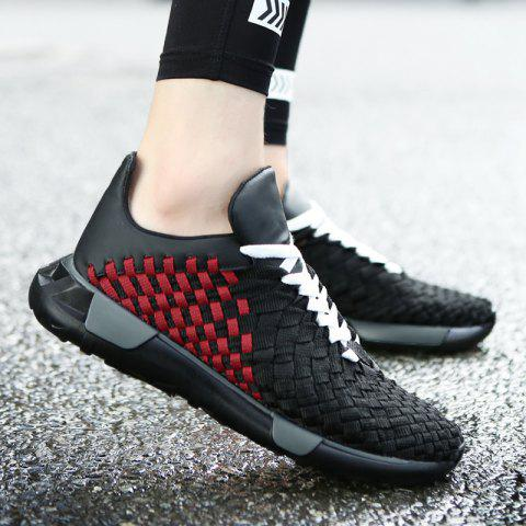 Online Plaid Pattern Weave Breathable Casual Shoes - 41 BLACK&RED Mobile