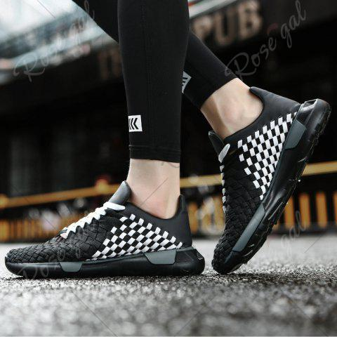 Fashion Plaid Pattern Weave Breathable Casual Shoes - 43 BLACK WHITE Mobile