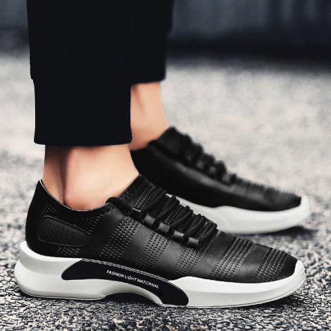 Buy Breathable Faux Leather Tie Up Casual Shoes - 40 BLACK Mobile