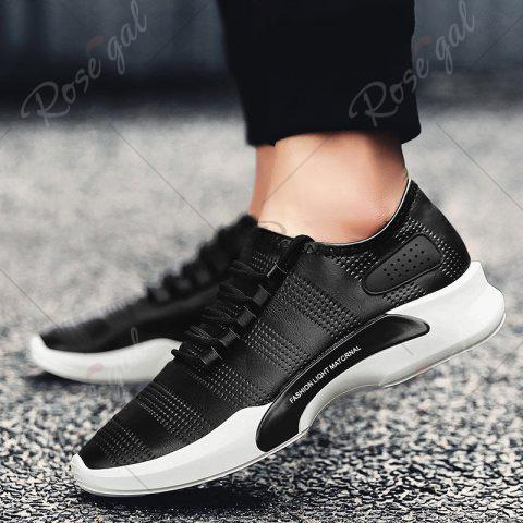 Chic Breathable Faux Leather Tie Up Casual Shoes - 40 BLACK Mobile