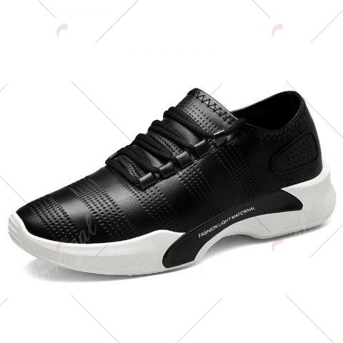 Outfits Breathable Faux Leather Tie Up Casual Shoes - 40 BLACK Mobile
