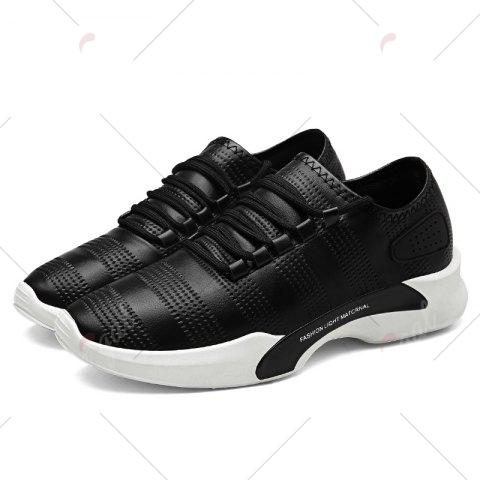 Discount Breathable Faux Leather Tie Up Casual Shoes - 40 BLACK Mobile