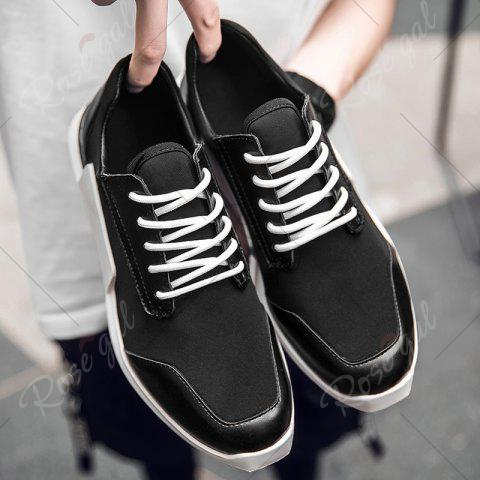 Chic Tie Up Stretch Fabric Breathable Casual Shoes - 40 BLACK Mobile