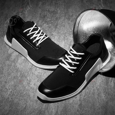 Outfit Tie Up Stretch Fabric Breathable Casual Shoes - 40 BLACK Mobile