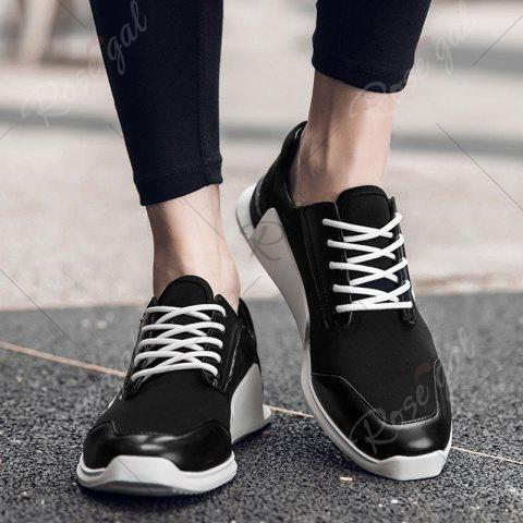 Fashion Tie Up Stretch Fabric Breathable Casual Shoes - 40 BLACK Mobile