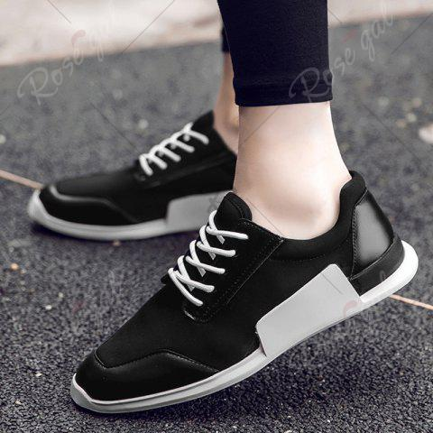 Cheap Tie Up Stretch Fabric Breathable Casual Shoes - 40 BLACK Mobile