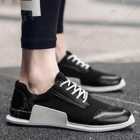 New Tie Up Stretch Fabric Breathable Casual Shoes - 40 BLACK Mobile