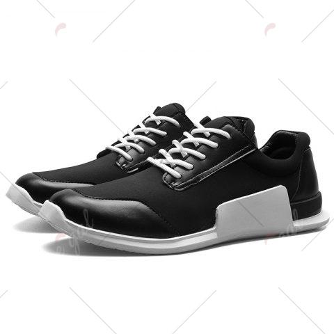 Latest Tie Up Stretch Fabric Breathable Casual Shoes - 40 BLACK Mobile
