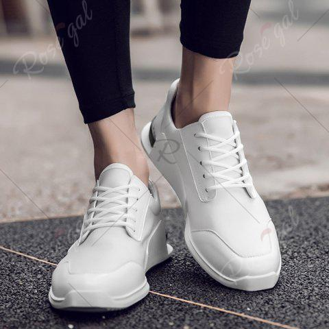 Online Tie Up Stretch Fabric Breathable Casual Shoes - 43 WHITE Mobile
