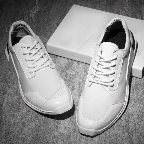 Buy Tie Up Stretch Fabric Breathable Casual Shoes - 43 WHITE Mobile