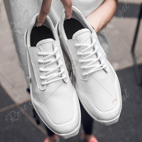 Unique Tie Up Stretch Fabric Breathable Casual Shoes - 43 WHITE Mobile